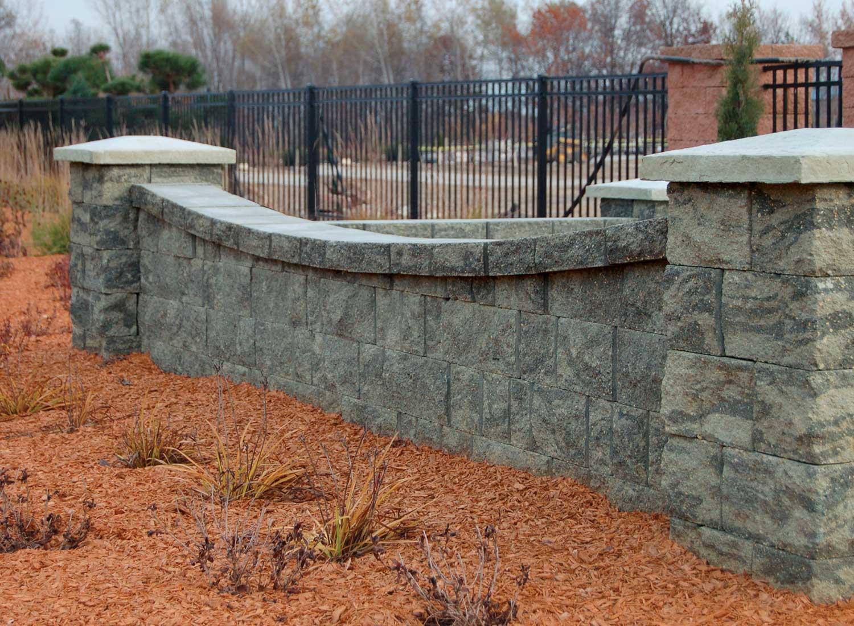 LondonStone round face granite blend retaining wall block.