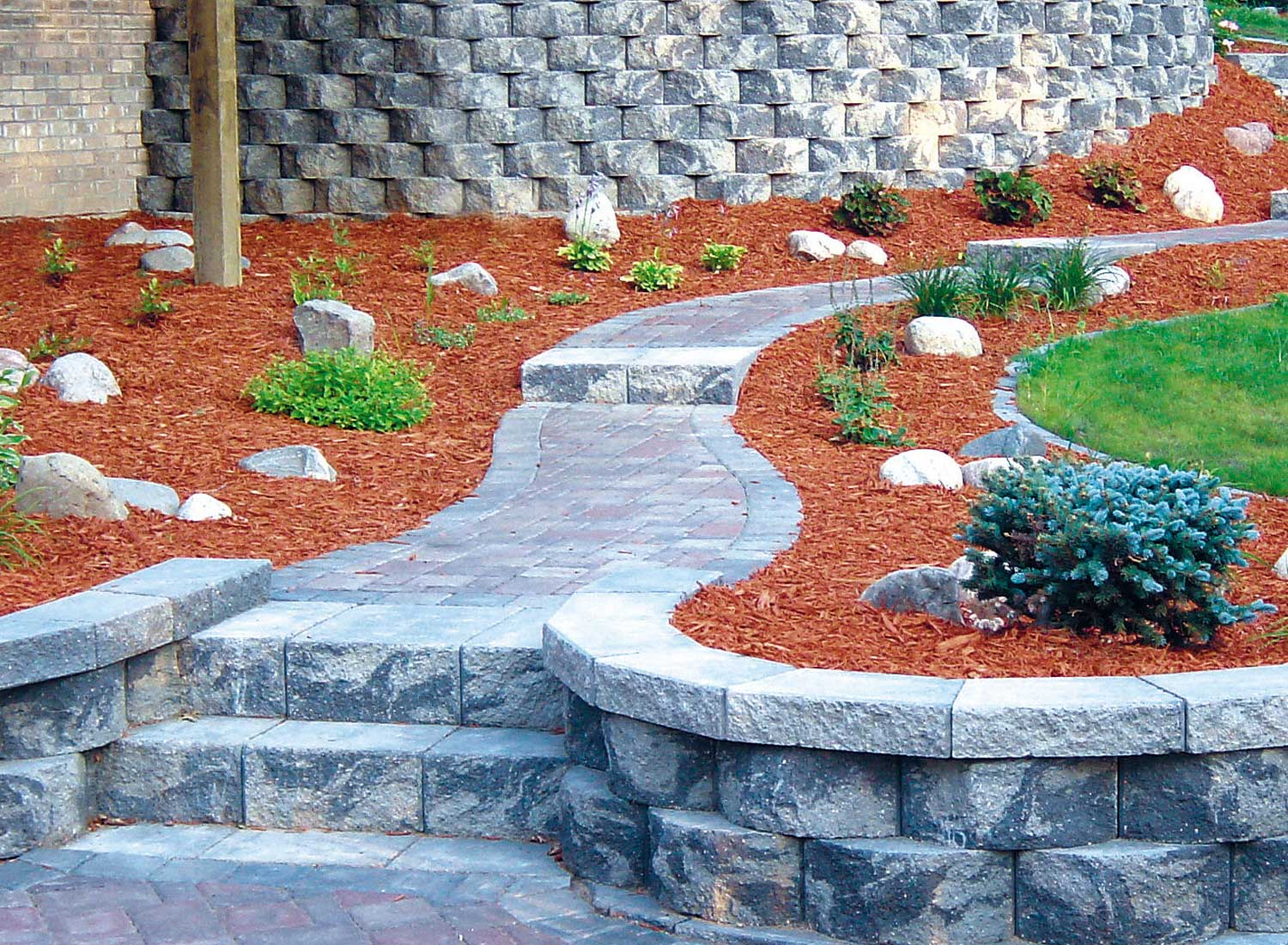 retaining with stairs the garden redesign blocks install home wall to